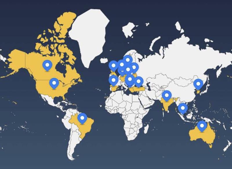 项目涉及五大洲,十七个国家
