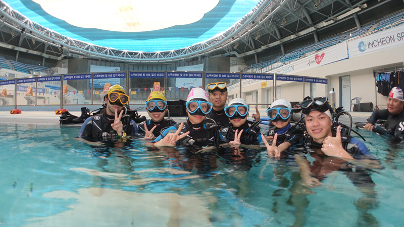 参观2014年亚运会游泳馆及潜水体验(韩国仁荷大学暑期学习项目)