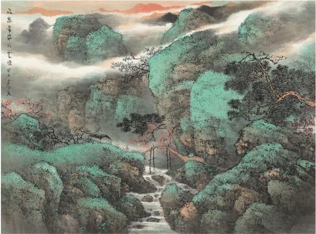 飞泉常带片云来 纸本设色