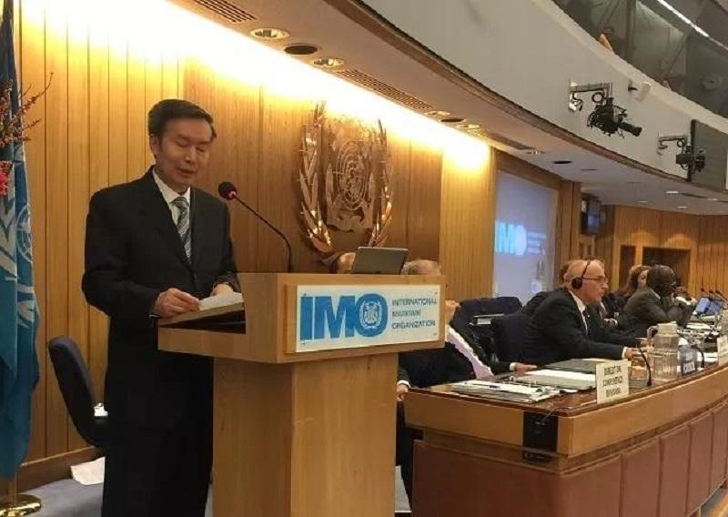 """交通运输部副部长何建中在IMO第30届大会上发言,表示在上海建立MTCC-Asia,有力地推动了""""安全、环保和高效航运""""目标的实现"""