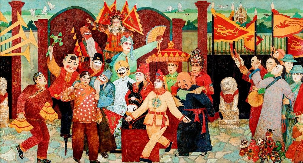 浚县庙会(漆画 )