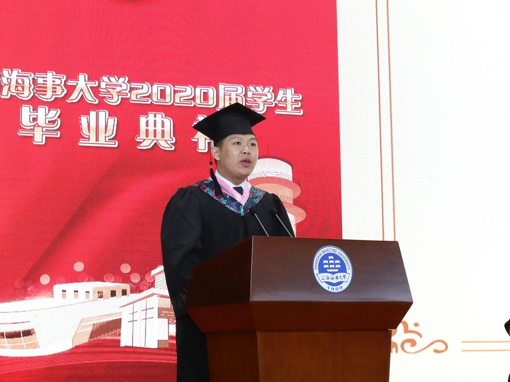 毕业生代表、交通运输学院国航162班斯航发言